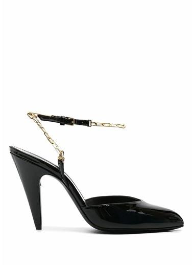 Saint Laurent Saint Laurent  Zincir Detaylı Deri Topuklu Ayakkabı 101612706 Siyah